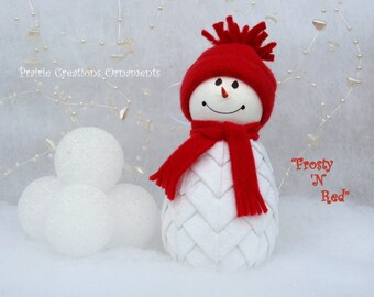 Snowman Quilted Ornament Kit with Instructions - Frosty N Red