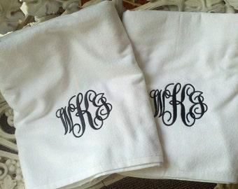 Set of 2 for the Bride and Groom - Monogrammed Honeymoon Beach Towels - CUSTOM