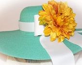 Monogrammed Mint Lime Green Floppy Hat  Bride, Spring Break,  Bridal Shower, Honeymoon or Bridesmaids, Beach, Derby, Carolina  Cup Race