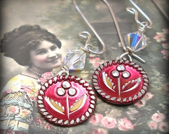 1800s Antique BUTTON earrings, Victorian red flowers on sterling. Antique button jewelry, jewellery.