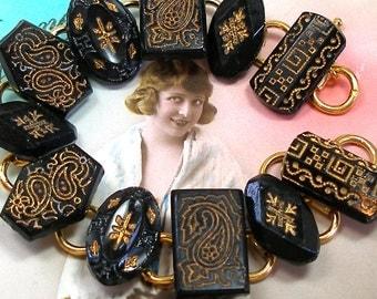 """1800s BUTTON  bracelet, Victorian black glass with paisley. 7.5"""" bracelet. Antique button jewellery."""