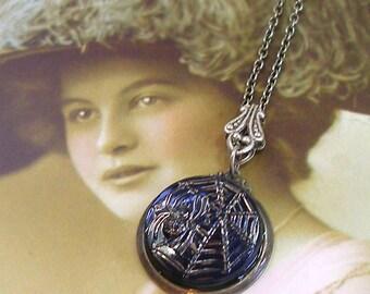 Spider BUTTON necklace, Blue glass Arachnid on silver chain. Button jewellery.