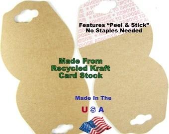 Jewelry Display Card Hang Recycled Kraft Natural Tag Wholesale 50 or 100 pcs Fold Over Self Adhesive Hangtag USA Made