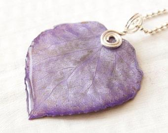 Lavender Purple Aspen Leaf Pendant, Bridesmaid Necklace