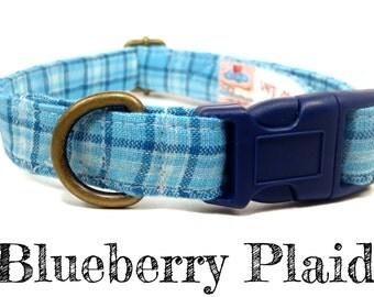 "LAST ONES Vintage Inspired Blue Plaid Preppy Dog Collar - Organic Cotton - Antique Brass Hardware - ""Blueberry Plaid"""