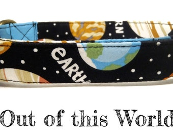 "Galaxy Planets Space Dog Collar - Organic Cotton - Antique Brass Hardware - ""Out of This World"""