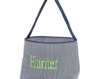 Navy Blue Personalized Childrens Easter Basket - Custom Kids Easter baskets, Monogrammed girls boys easter baskets totes, easter egg hunt