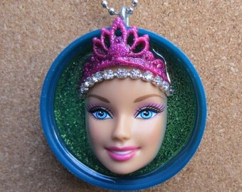 Queen for a Day - Upcycled Barbie Doll Pendant