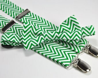Boy's Bow Tie and Suspender Set - Christmas Green Chevron - Toddler Tie and Suspenders - Children's Christmas Tie