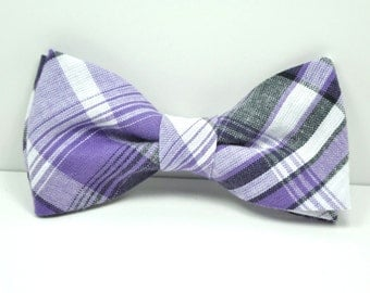 Purple and Gray Plaid Boy's Bow Tie, Toddler Bowtie, Baby Bowtie, Purple Tie