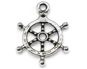 10 Captains Wheel Charms silver tone ship wheel nautical (S303)