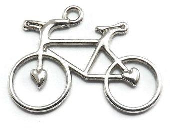 6 Bicycle Charms Silver Tone Metal bike (S348)
