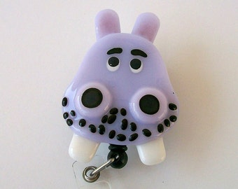 Fused Glass Purple Hippo Badge Holder
