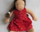 Waldorf doll dress, doll dress, 12 inch doll clothes, hearts dress, Waldorf dolls, handmade doll, rag dolls, cloth dolls, Valentines day
