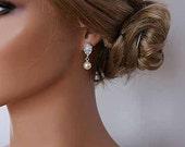 Bridal Pearl Drop Earrings Wedding Cubic Zirconia Sterling Silver Post Earrings