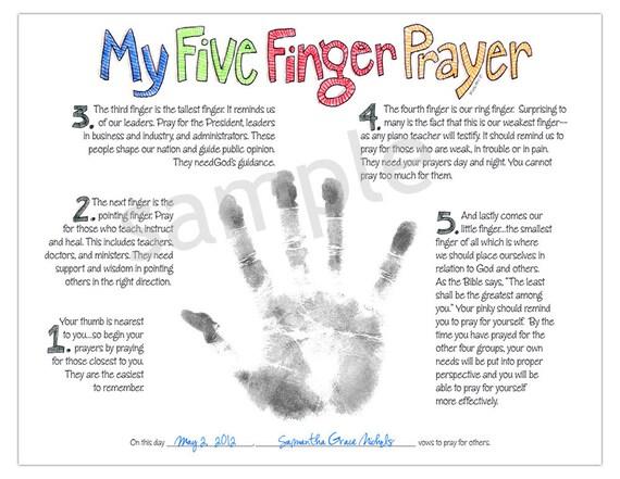 my five finger prayer hand print watercolor art print digital