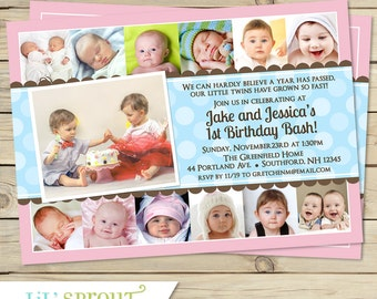 Twin 12 Month Birthday Invitation- 1st year