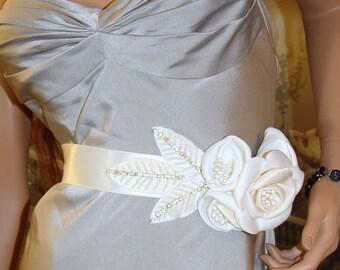 Rose - Ivory Cream Satin Rhinestone and Pearl Bridal Sash, Crystal Sash, Flower Sash, Wedding Dress Sash