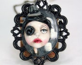 Pop Surreal Black Rose Cemetary Girl Cameo Necklace
