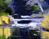 Winter Landscape, Oil Painting, Small Original, Woodland River, Creek, 8x10, Canvas, Wall Decor, Purple, Green, Gold Reflection, Trees, Snow