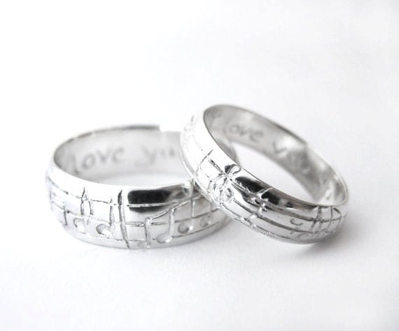 Your Song Wedding Ring Set - White Yellow Rose Gold or Platinum ...