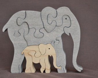 Mama Elephant with Calf  Animal Puzzle Wooden Toy Hand  Cut with Scroll Saw