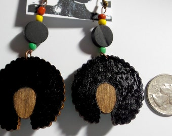 Afrocentric, Jewelry,Wooden, Afro, Fashion, Earrings