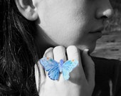 Butterfly Ring - Medium Size Light Blue Bridesmaids Gifts, Bridal Party, Woodland Wedding