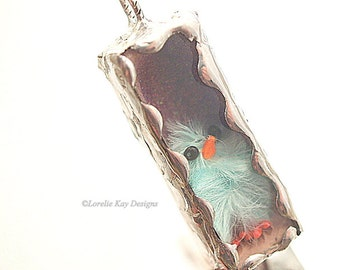 Fuzzy Chick Necklace Soldered Box Mixed Media One-of-a-Kind Diorama Pendant