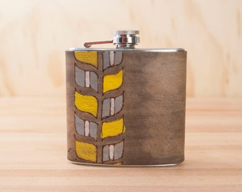 6oz Flask - Roger pattern - Modern in yellow, gray, white and antique black