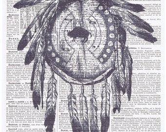 Dream Catcher,Native American Indian.Shield.Feather.French  Book Page Print.buy 3 get 1 FREE,GIft,wall.birthday gift.Paris.home deco.art.eco