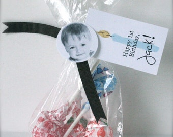 First Birthday Party Favor Tag for Candy Bag Personalized with Name and Picture