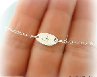 Sterling Silver Initial Bracelet. Tiny Charm Bracelet. Personalized Mom Bracelet. Bridesmaids Bracelet. Wedding Jewelry