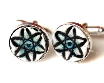 Atomic Symbol Silver Plated Ceramic Inlaid Cufflinks In Blue Crackle