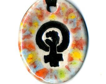 Rainbow Feminist Symbol Ceramic Necklace