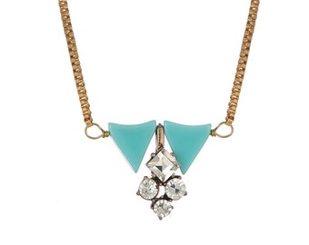 Kate necklace with rhinestone pendent. gold, blue, triangle, pendant, pendent, brass, box chain, trendy, sparkle, holiday, on sale, under 20