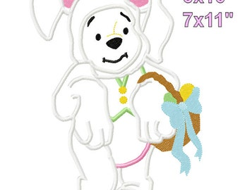 P00H Bear Easter Bunny Applique Design Machine Embroidery digital Pattern 5x7 6x10 7x11 INSTANT DOWNLOAD