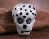 Lampwork Glass Sugar Skull Day of the Dead Focal Bead White with Black Polka Dots Divine Spark Designs SRA LETeam