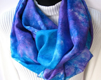 Infinity Scarf for Women - Violet Blue Silk Scarf cowl scarf fall and winter fashion scarf Unique Handmade Hand Dyed silk infinity scarf