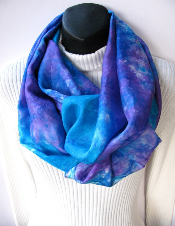 Infinity Scarf for Women Violet Blue Silk Scarf cowl scarf