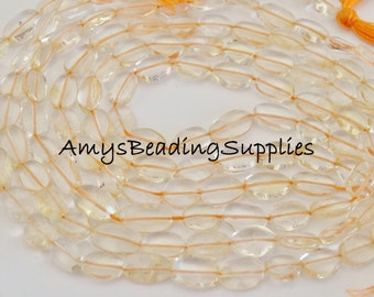 """SALE: 14"""" CITRINE Strand 8x6mm Flat Oval Beads,  Approx 40 beads"""