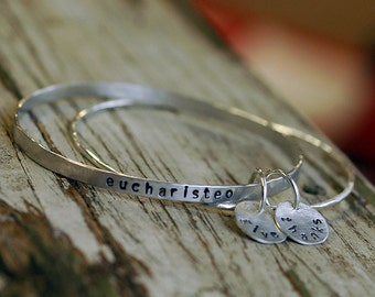 Bangle Bracelets - Silver Stacking Bangle - Personalized Jewelry - Boho Jewelry - Silver Bangles - Silver Bracelet - Bangle Set - Gift B1028