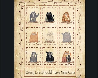 Cat Print-  Every Life Should Have Nine Cats  8 by 10  Primitive Style Folk Art Country Decor