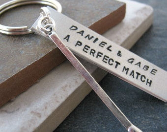 Personalized Couples Keychain, Perfect Match with matchstick charm, Aluminum Bar, Valentine's Day, anniversary gift, engagement, wedding