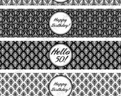 Printable 50th Birthday Black Damask Water Bottle Wrappers - Instant Download
