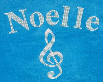 Personalized Large Turquoise Velour Beach Towel with Music Note,Pool Towel, Kids Bath Towel, Camp Towel, Baby Towel, Bridal Party Gift, Swim