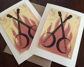 Banjos and Fire - 24 Pack Gocco Screen-Printed Greeting Cards