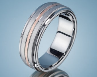 Men's Wedding Band Stainless Steel Rose Gold Ring