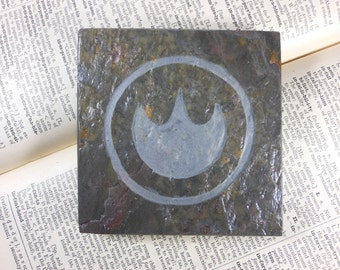 FIRE SAGE MEDALLION  - Hand Carved Slate Art Coaster, Etched Stone Art Display Tile - Video Game Room Decor Coaster