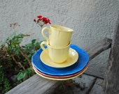 Vintage Metlox California Pottery Tradition Small Plates (3) Mugs (2) Saucer (1)